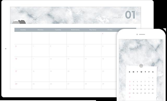 1월의 달력(PC + 모바일 버전)