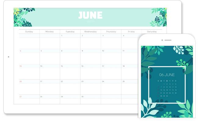 6월의 달력(PC + 모바일 버전)